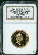 1986 Great Britain 2 Pounds Commonwealth Games Uk Ngc Pf70 Gold Pr70