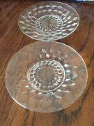 Fostoria American Clear Crystal Glass 6 Plate Saucer Set 2 Vintage