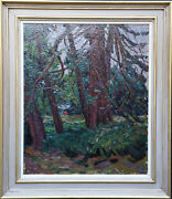 Peter L Field British Post Impressionist 50and039s Art Wooded Landscape Oil Painting
