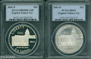 2001-p Capitol Commemorative Silver Dollar Pcgs Ms69 And Pf69 Pr69 2-coins Set