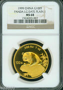 1999 Large Date Plain 1 Gold Panda Ngc Ms68 China 100y 100yn 100 Yuan 1 Oz.