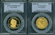 2011-w 10 Gold Spouse Lucy Hayes Pcgs Pr70 Pf70 And Ms70 Proof Ms 2-coins Set