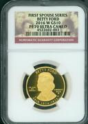 2016-w 10 Gold 1/2 Oz. Commemorative First Spouse Betty Ford Ngc Pf70 Pr70