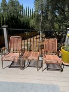 Mid Century Eames Aire Patio Chairs Foot Stool Salmon Vinyl Cording All Original