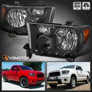 For 2007-2013 Toyota Tundra 08-17 Sequoia Black Headlights Lamps Left+right Pair