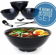 Ramen Bowl Set, Asian Japanese Soup With Spoons Chopsticks And Stands
