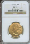 1910-d 10 Indian Eagle Ngc Ms63 Gold Coin Ms-63