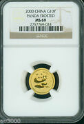 2000 Frosted Gold Chinese Panda 1/10 Oz. 10y G10y Ngc Ms69 Ms-69 China 10 Yuan