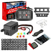 Updated 6 Gang Switch Panel W/ Dimmable Circuit Control Box Car Marine Boat 12v
