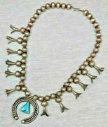 Early Rare Old Pawn Turquoise And Silver Coin Squash Blossom Necklace Navajo