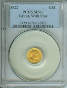 1922 G1 Grant With Star Commemorative Gold Dollar Pcgs Ms67 Ms-67 Scarce