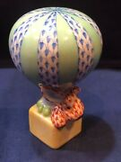 Herend - Bunny Rabbit In Hot Air Balloon - Rust And Blue Fishnet New