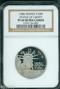 1986 France 100 Francs Proof Platinum Statue Of Liberty Ngc Pf69 Pr69 Only 9,500
