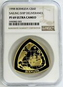 1998 Gold Bermuda 60 Ship Deliverance 1 Oz Triangle Proof Coin Ngc Pf 69 Uc