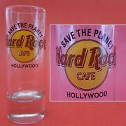 Hard Rock Cafe Hollywood Save The Planet Shot Glass. Yellow And Red. Black Letters