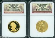 2008-w 10 Gold Spouse Louisa Adams Ngc Pr70 Pf70 And Ms70 2-coins Set