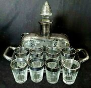 Deco Paden City Sterling Overlay Rockwell Liqueur Decanter 12 Shot Glasses Tray