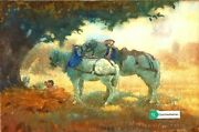 Watercolour Painting By William Brock Guilt Frame Lovers Horses Royalty Antique