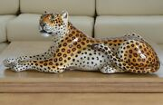 Mid Century Ronzan Large Leopard Sculpture Made In Italy