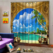 Large Swimming Pool Yellow Door Printing 3d Blockout Curtains Fabric Window
