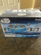 Bestway Inflatable 10 Ft Wide X 30 In Deep Fast Set Pool With Filter And Pump