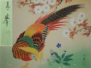 Chinese Painting On Silk 17x14 Signed Golden Pheasant Bright Antique / Vintage