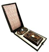 Antique Shell With Gold Pique Coin Purse And Aide Memoire C1850