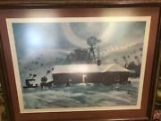 Peter Hurd 1967 Signed Litho The Late Call Framed Matted 16x22 Image