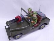 Nomura Toy Combat Jeep U.s Army 6607 Tinplate Vehicle With Figure Made In Japan