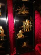 3 Piece Black Lacquor Asian Wall Hanging With Enlaid Ancient Jade