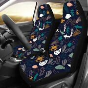 Universal 2pc Car Front Seat Cover Protector Cushion Deep Sea Drawing For Truck