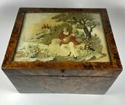 Antique French Needlepoint And Burled Wood Sewing Or Work Box, Cigar Box, C1830-50