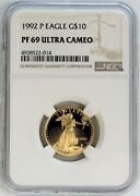 1992 P Gold 10 Proof 1/4 Oz American Eagle Coin Ngc Pf 69 Ultra Cameo