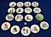 1984 Norman Rockwell Four Seasons Spring Full Set Of 17 Miniature Plates Le