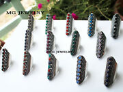 100 Pcs Lot 925 Sterling Silver Plated Mix 7 Gemstone Adjustable Rings