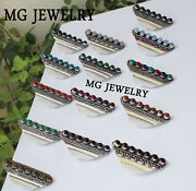 200 Pcs Lot 925 Sterling Silver Plated Mix 7 Gemstone Adjustable Rings
