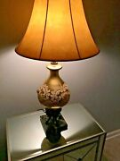 Rare 1940's Antique Gold Lamps And Marble Base Lamp Pair