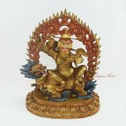 Gold Gilded Hand Carved Face Dorje Drolo Lhamo Copper Statue From Patan Nepal