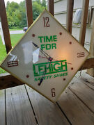 Vtg Working Lighted Glass Front Lehigh Safety Shoes Clock Advertising