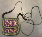 Antique Chinese Embroidered Pouch Later Made Into Shoulder Purse