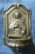 299-antique Silver Holy Water Font