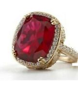 Jean Dousset Gt14ct Absolut Cushion-cut Ruby Pavéframe Feather Cocktail Ring 6