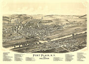 Fort Plain And Nelliston, New York - Aerial Birds Eye View Map Poster