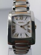 Ebel Brasilia Menand039s Two Tone White Dial Watch 18kt Yg And S/s Case And Bracelet