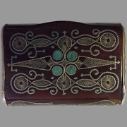 Ca.1880 Middle Eastern Wooden Snuff Box W/ Malachite Coral And Silver Wire