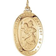 St Christopher Medal Pendant 14k Solid White Yellow Gold 6 Sizes Engravable