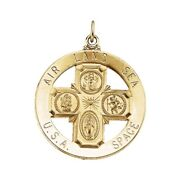 Four Way Cross St Christopher Medal Pendant Catholic 14k Solid Yellow Gold