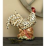 Black And White Spotted Rooster Sculpture Statue Farmhouse Ceramic Display Decor