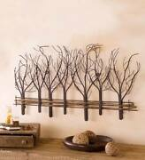 Winter Trees Wall Sculpture Indoor Metal Art With Natural Vines 35l X 22h X 1din