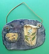 Double Wall Pocket Pottery Hand Made Signed Unusual Blue Tan Floral Flowers